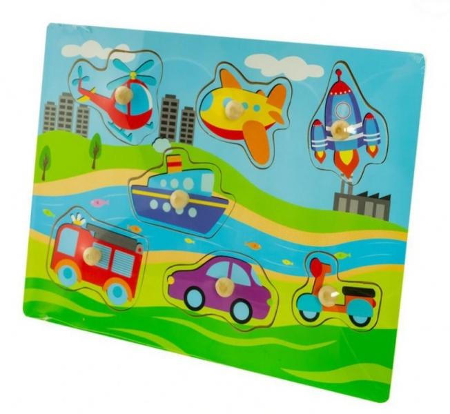 Dřevěné zábavné puzzle vkládací Euro Baby - Dopravní prostředky