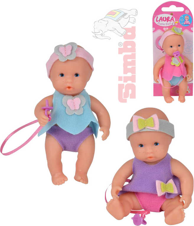 SIMBA Panenka miminko Laura Sweet Baby s dudlíkem 3 druhy na kartě