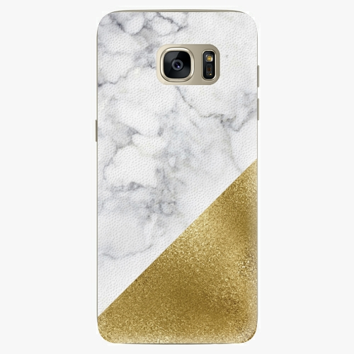 Plastový kryt iSaprio - Gold and WH Marble - Samsung Galaxy S7 Edge
