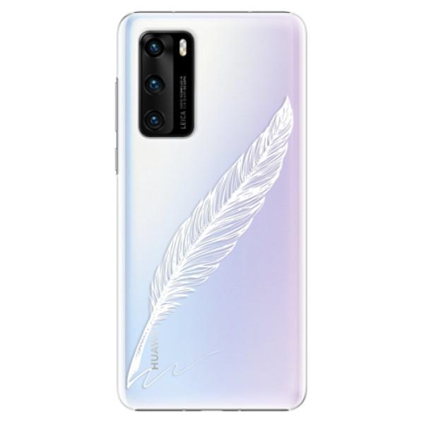 Plastové pouzdro iSaprio - Writing By Feather - white - Huawei P40