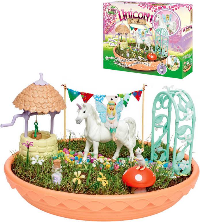 My Fair Garden jednorožcova zahrádka set se semínky a doplňky v misce