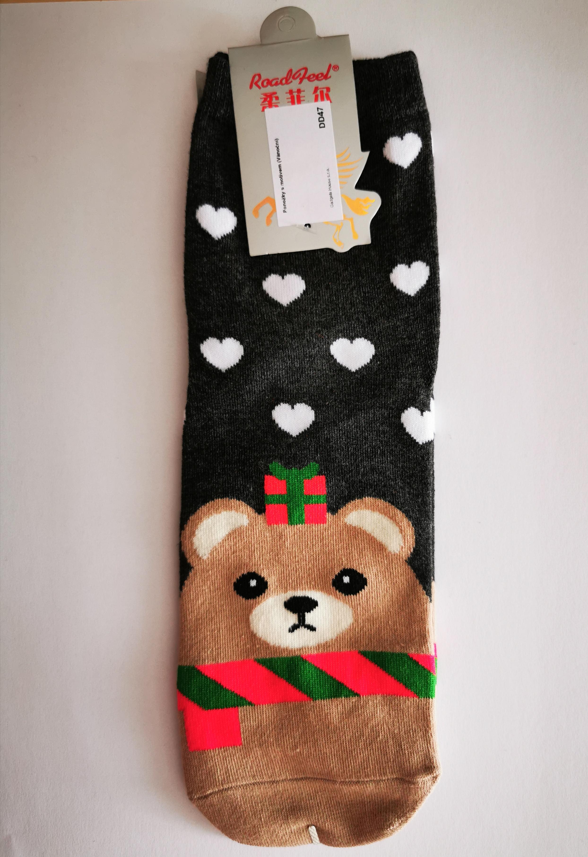 Ponožky s vánočními motivy - Méďa