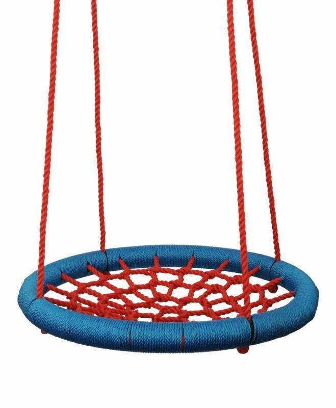 WOODY Houpačka síťovaná Kruh 100cm houpací červeno-modrý na zahradu