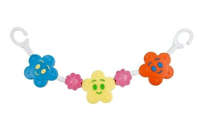 Chrastítko na kočárek, barevné - hvězdička, kytička