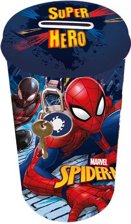 Pokladnička velká Spiderman 14x8cm plechová oválná set s klíčky a zámkem