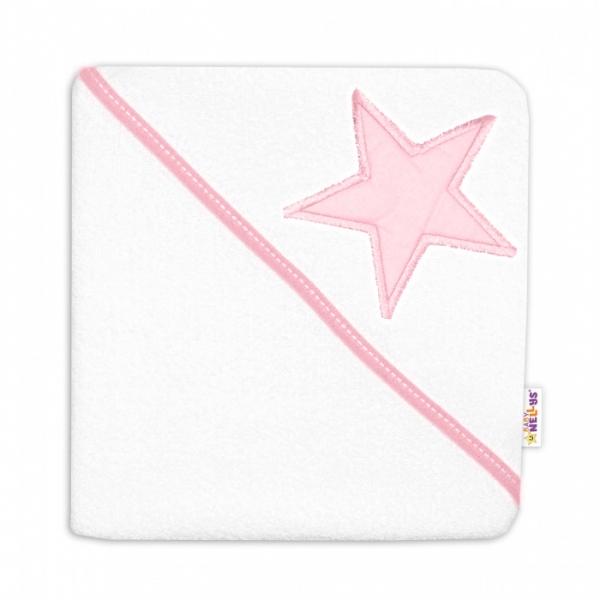 baby-nellys-detska-termoosuska-baby-stars-s-kapuci-80-x-80-cm-bila-ruzova