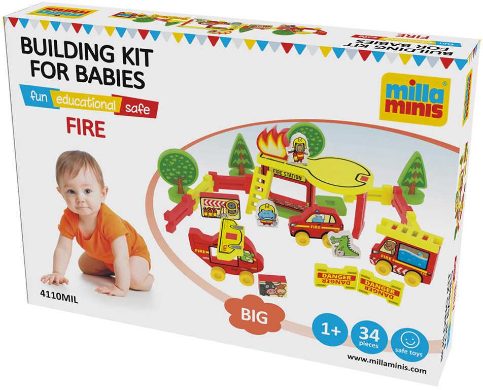 MILLAMINIS Velká požární stanice baby soft stavebnice pěnová 34 dílků