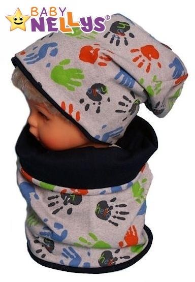 Bavlněná sada čepička a nákrčník s ručičkami Baby Nellys ® - šedá - 50/52 čepičky obvod