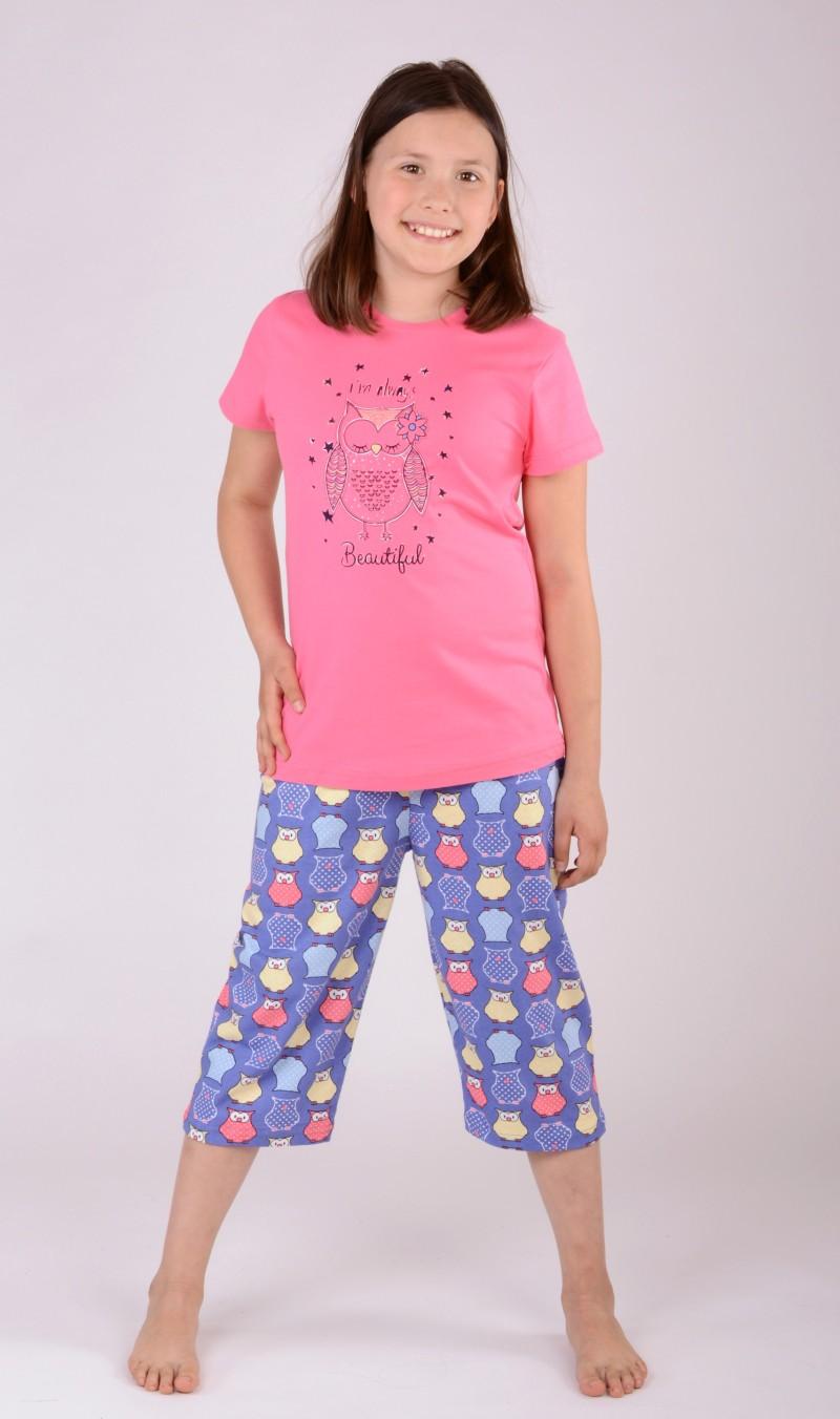 Dětské pyžamo kapri Sova - Lososová 7 - 8