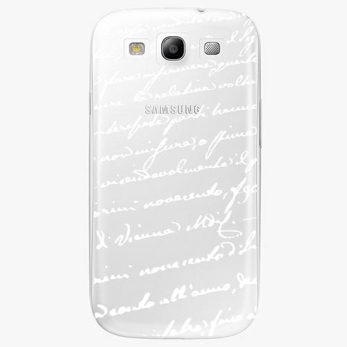 Plastový kryt iSaprio - Handwiting 01 - white - Samsung Galaxy S3