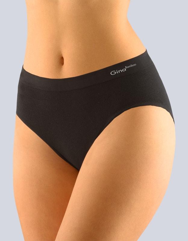 GINA dámské kalhotky klasické, širší bok, bezešvé, jednobarevné Bamboo PureLine 00019P - černá - S/M