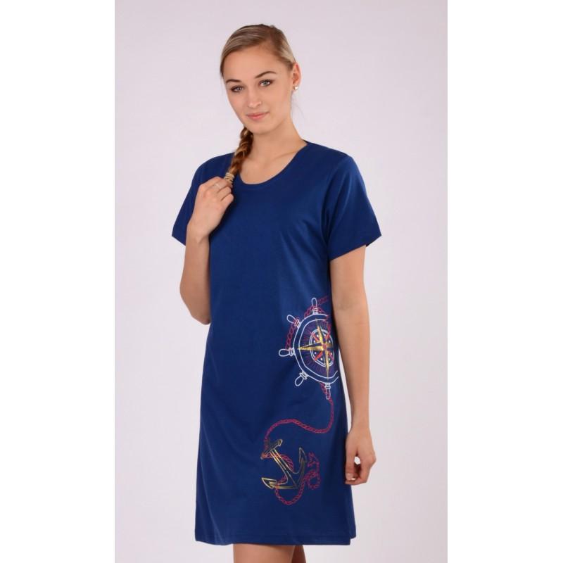 Dámská noční košile velká kotva 5696 - Vienetta - Tmavě modrá - vzor/S