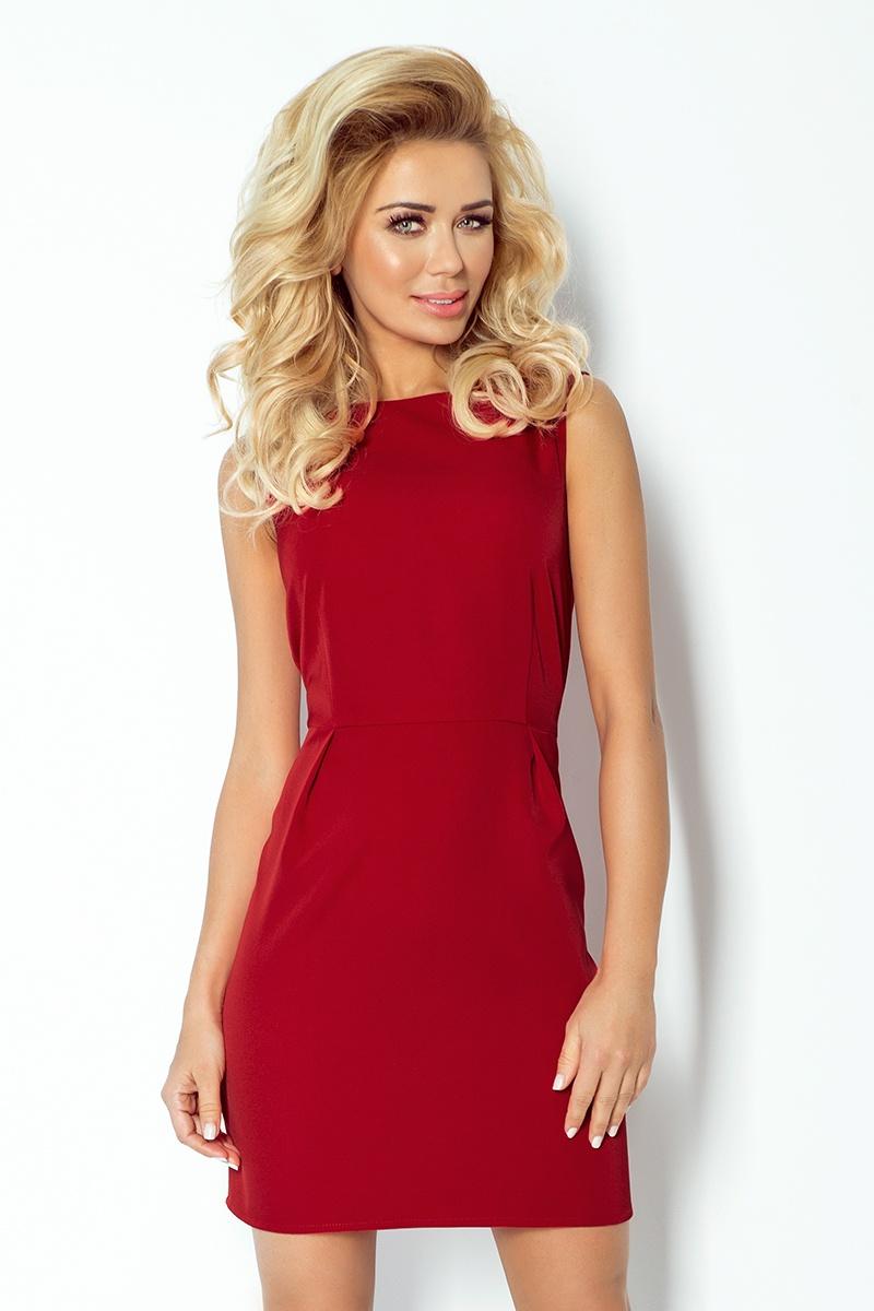 Bordó šaty s překlady v pase model 4976942 - XL