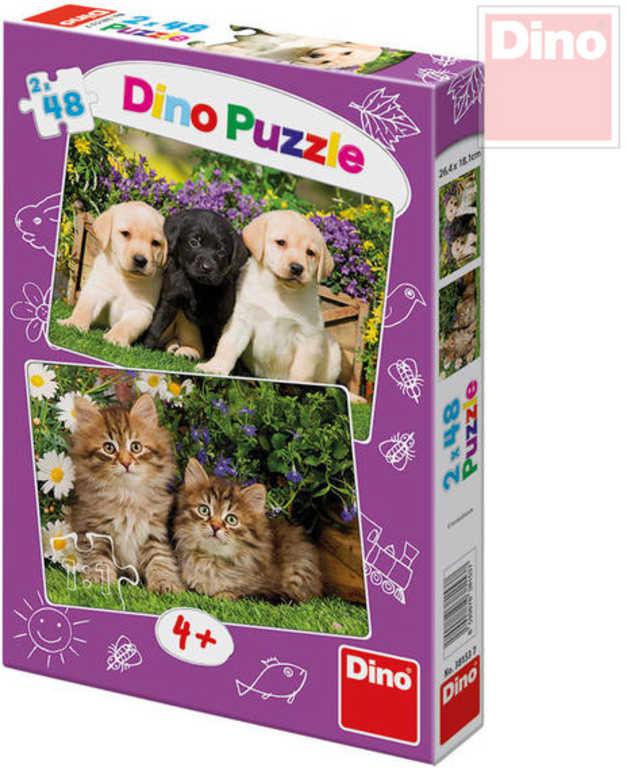 DINO Puzzle 26x18cm Mazlíčci domácí zvířátka 2x48 dílků v krabici 2v1