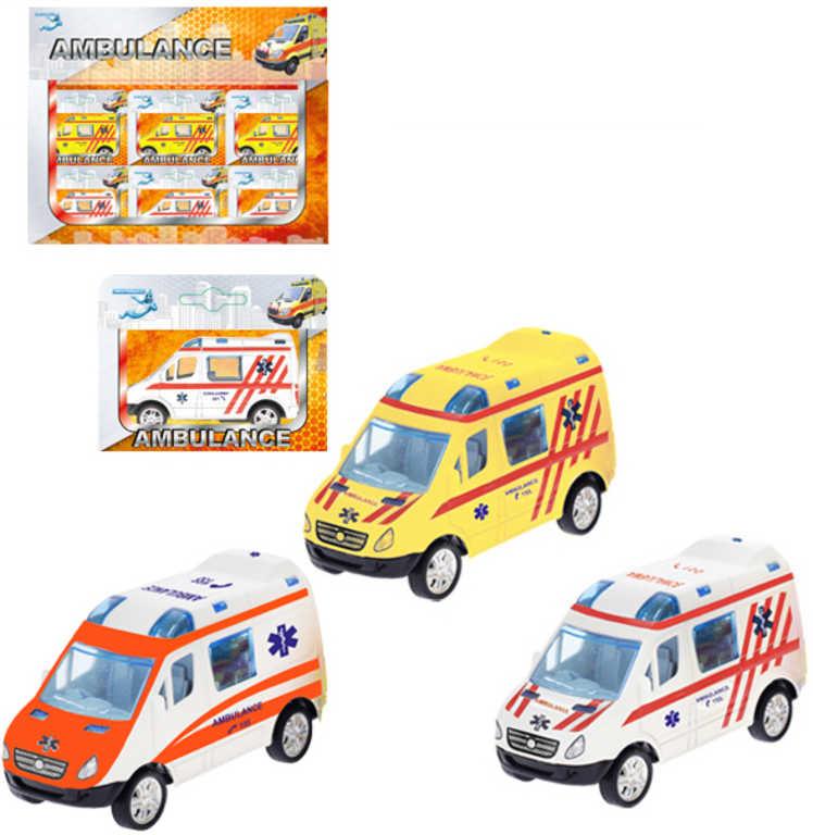 Auto ambulance 8cm kovové na zpětný nátah 3 barvy sanitka v krabičce