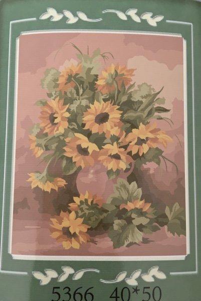 Malování podle čísel na plátno - váza se slunečnicemi