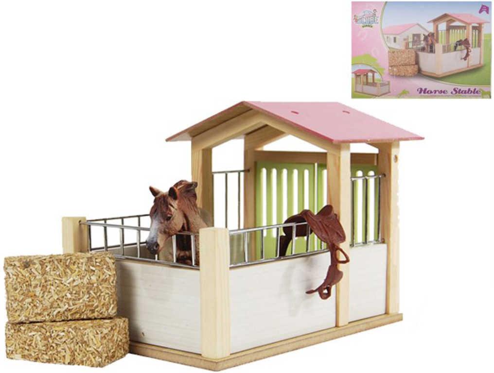 DŘEVO Mini stáj pro koně 20x14x16cm *DŘEVĚNÉ HRAČKY*