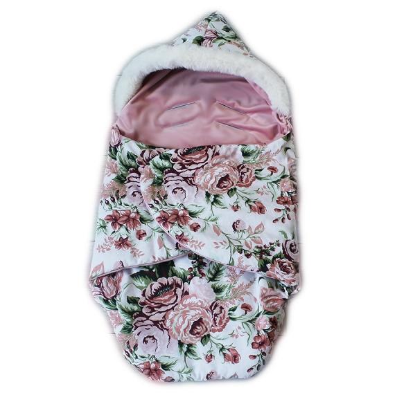 baby-nellys-zavinovaci-fusak-s-kozesinkou-velvet-skritek-delka-85-cm-bily-divoke-ruze