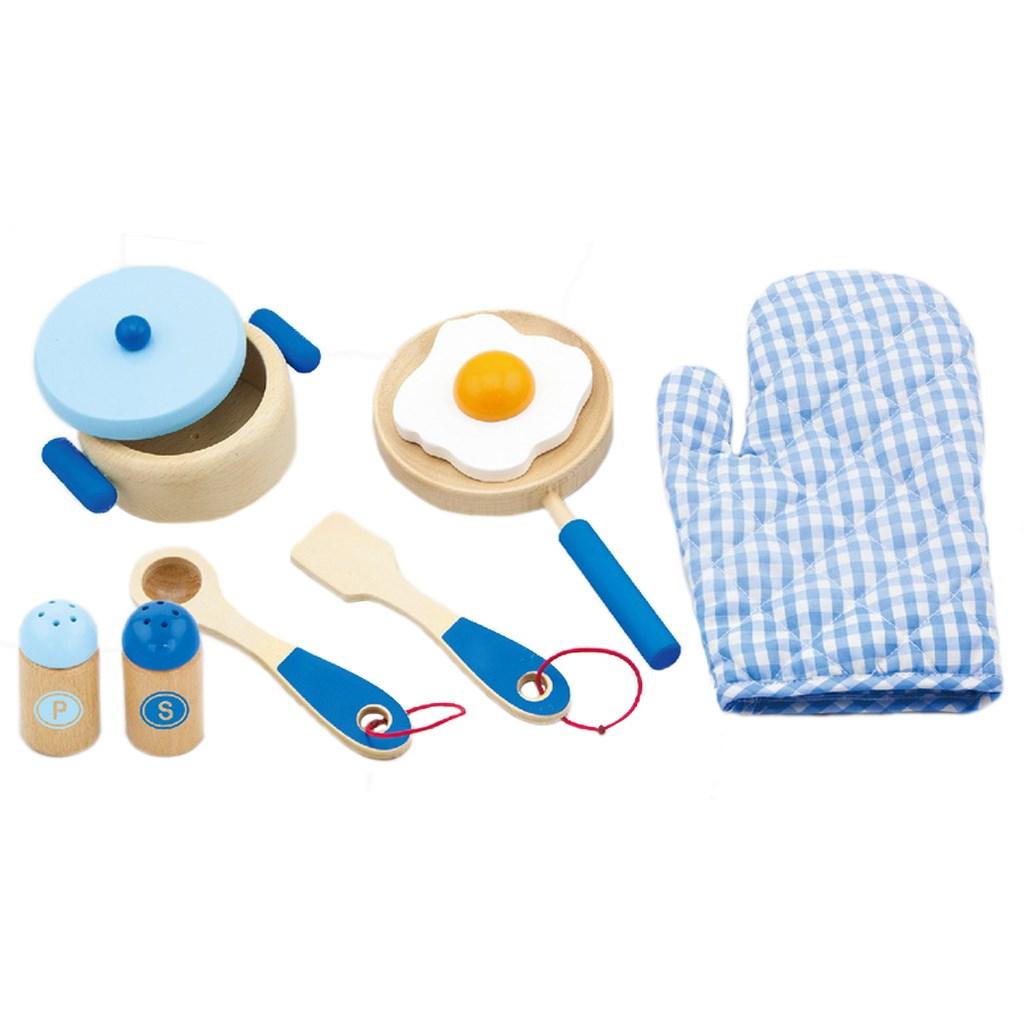 Dětské dřevěné nádobí Viga-snídaně - modrá