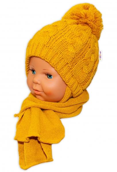 BABY NELLYS Zimní pletená čepička s šálou Baby Bear - hořčicová s bambulkou - 34/36 čepičky obvod