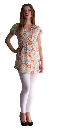 Těhotenská asymetrická tunika s barevnými květy