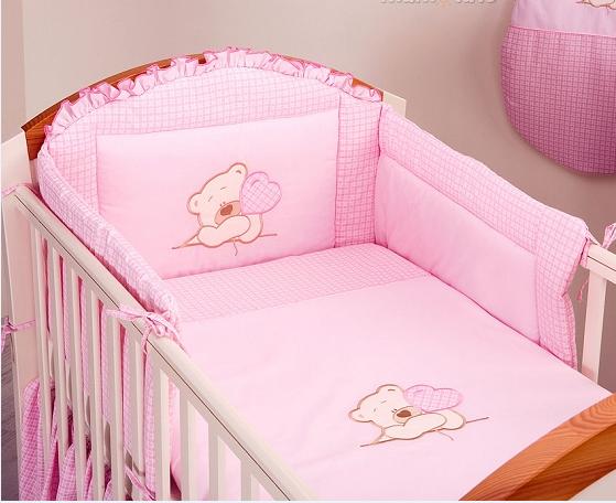 Mamo Tato Luxusní 2 dílný set do postýlky Love růžový - 135x100
