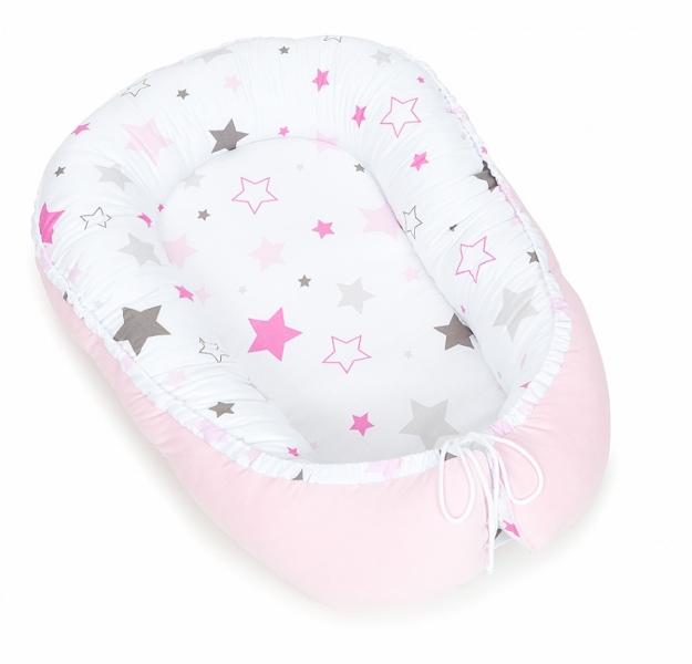 Mamo Tato Oboustranné hnízdečko Velvet - kokon pro miminko - růžové/big stars růžové