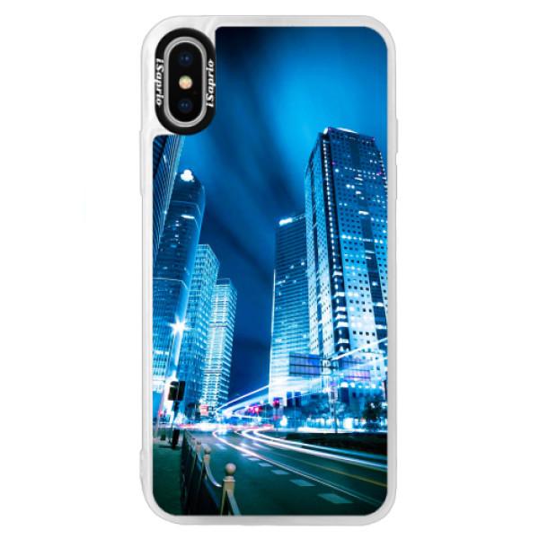 Neonové pouzdro Blue iSaprio - Night City Blue - iPhone X