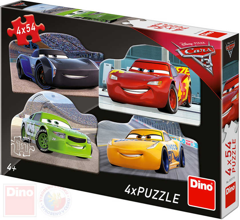 DINO Puzzle Rivalové Cars (Auta) 19x13cm skládačka 4x54 dílků