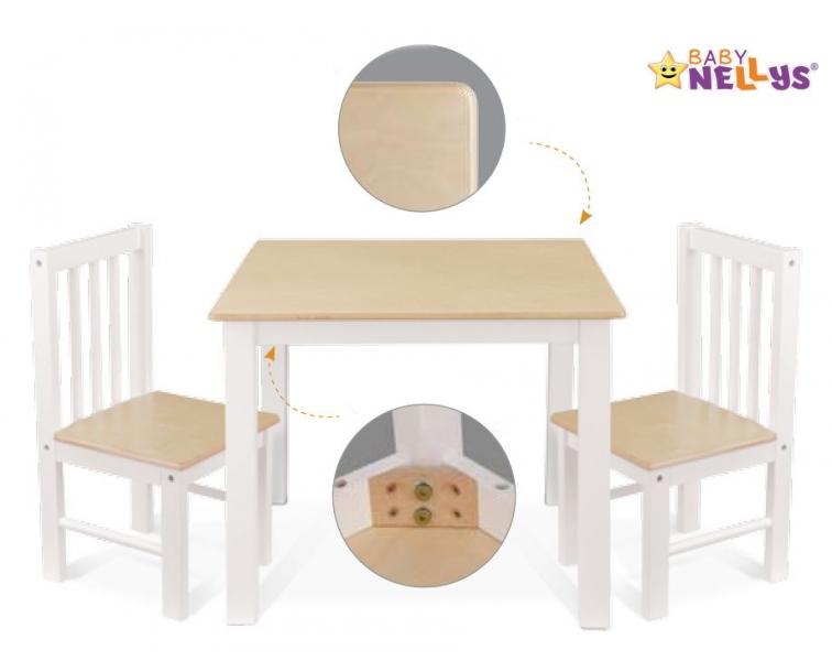 BABY NELLYS Dětský nábytek - 3 ks, stůl s židličkami - přírodní, bílá, B/08
