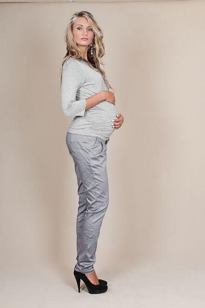 Be MaaMaa Těhotenské kalhoty s mašlí - Šedý popílek - XS (32-34)