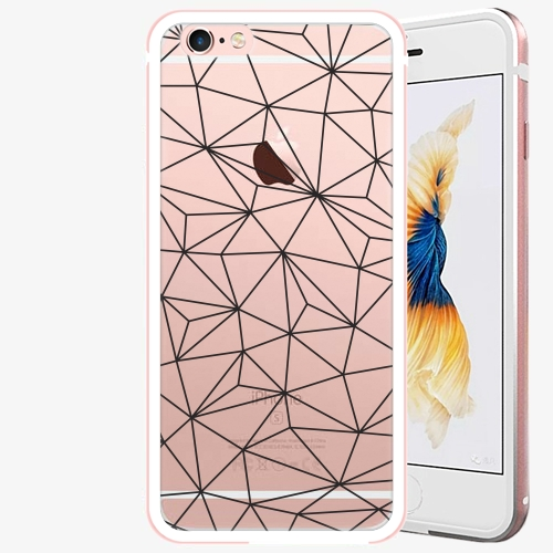 Plastový kryt iSaprio - Abstract Triangles 03 - black - iPhone 6/6S - Rose Gold