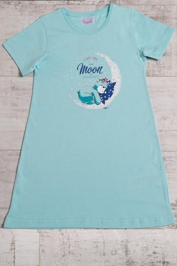Dívčí noční košile Méďa na měsíci - Vienetta - Sv.modrá/S
