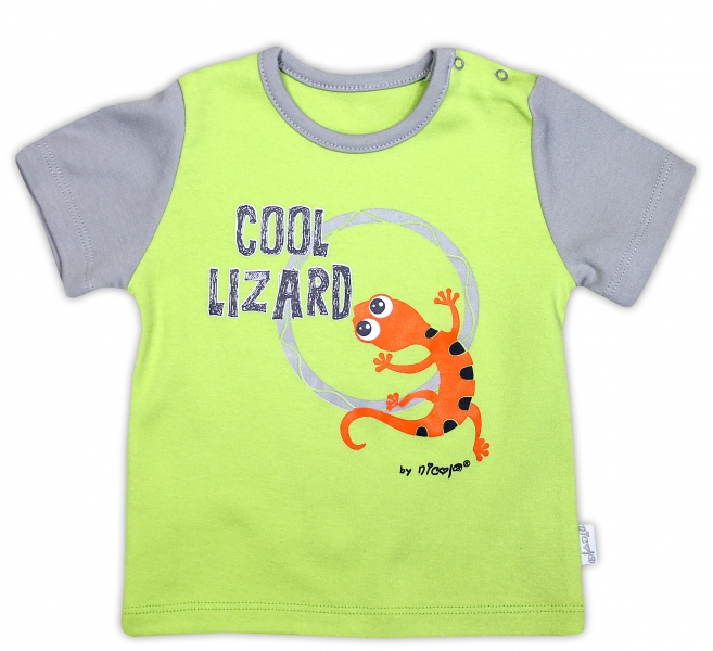 Bavlněné tričko NICOL JEŠTĚRKA - krátký rukáv - hráškově