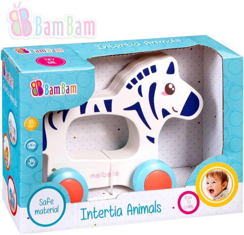 ET BAM BAM Baby Zebra zvířátko na kolečkách plast pro miminko