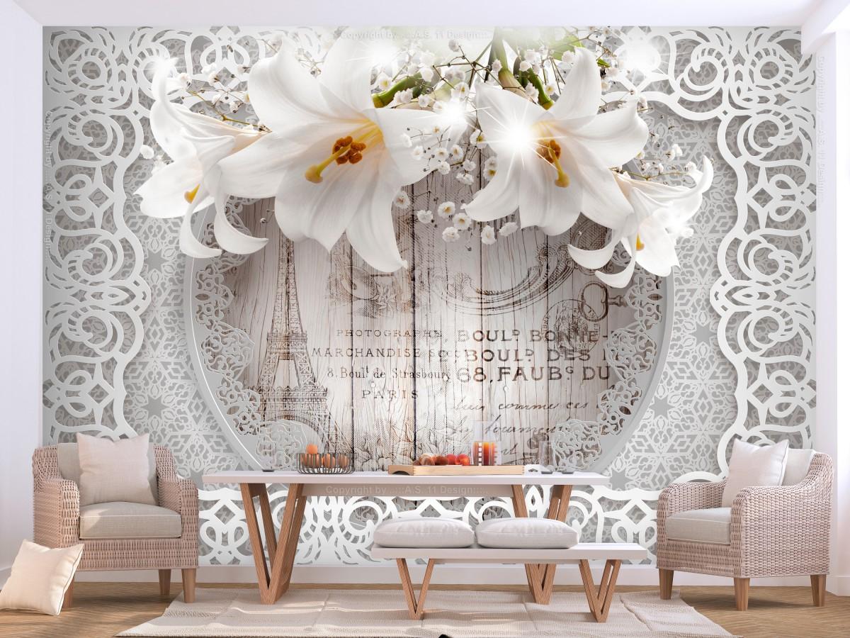 3D tapeta Lilie na dřevě - 250x175 cm
