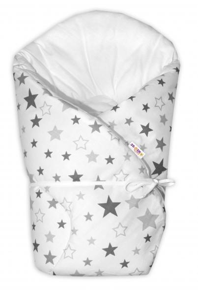 Zavinovačka na zavazování Baby Nellys Hvězdy a hvězdičky - šedá/grafit na bílém