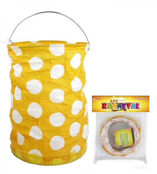 Lampion žlutý s tečkami, krčený, 15 cm, čajová svíčka