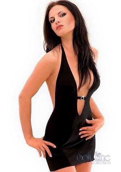 Luxusní minišaty SOFTLINE Marika černé - Černá - S/M