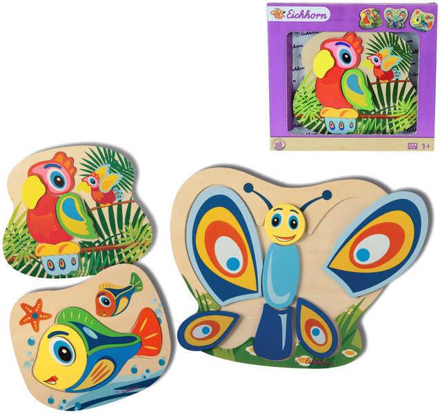SIMBA DŘEVO Puzzle Zvířátka barevná 3 druhy *DŘEVĚNÉ HRAČKY*