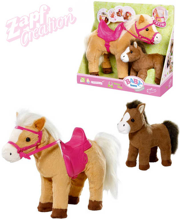 ZAPF BABY BORN Kůň interaktivní set s hříbátkem chodí na baterie Zvuk
