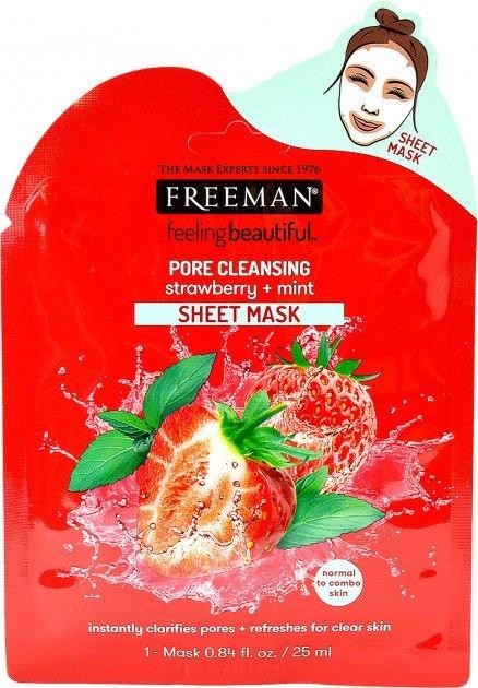 Látková maska na čištění pórů s jahodami a mátou 25 ml
