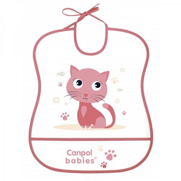 Plastový bryndák s kapsičkou Cute Animals - Kočička