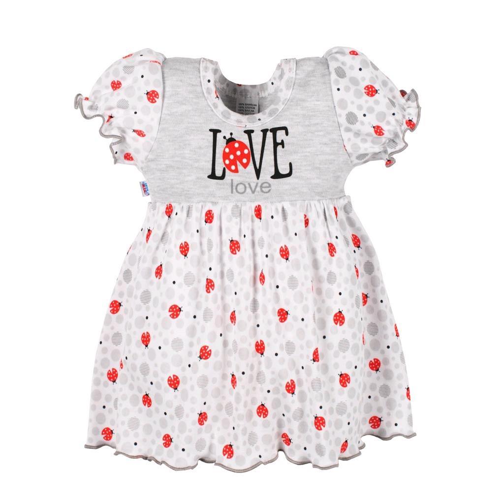 Kojenecké šatičky New Baby LadyBird - šedá/74 (6-9m)