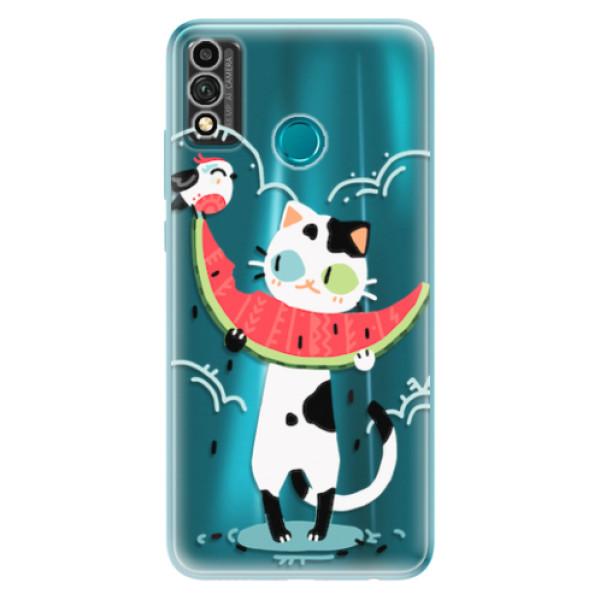 Odolné silikonové pouzdro iSaprio - Cat with melon - Honor 9X Lite