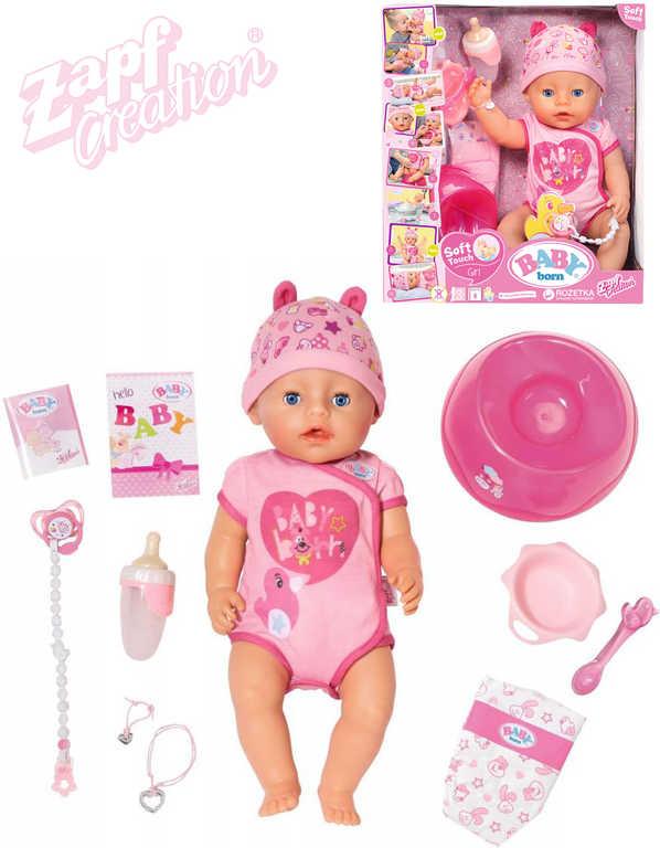 ZAPF BABY BORN Panenka interaktivní miminko holčička pláče pije kaká