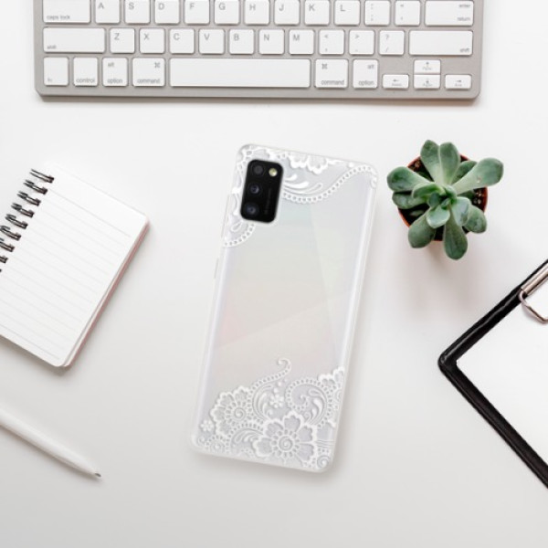 Odolné silikonové pouzdro iSaprio - White Lace 02 - Samsung Galaxy A41