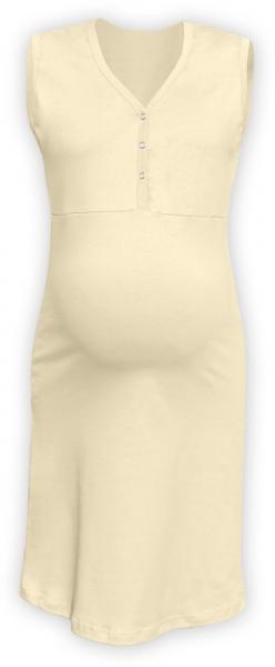 JOŽÁNEK Těhotenská, kojící noční košile PAVLA bez rukávu - latte