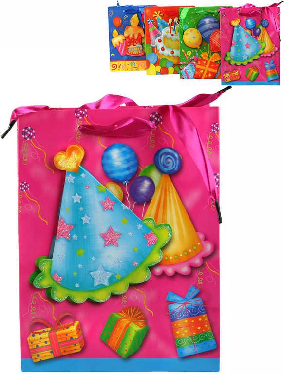 Párty taška papírová narozeninová 18x24cm s třpytkami 4 druhy