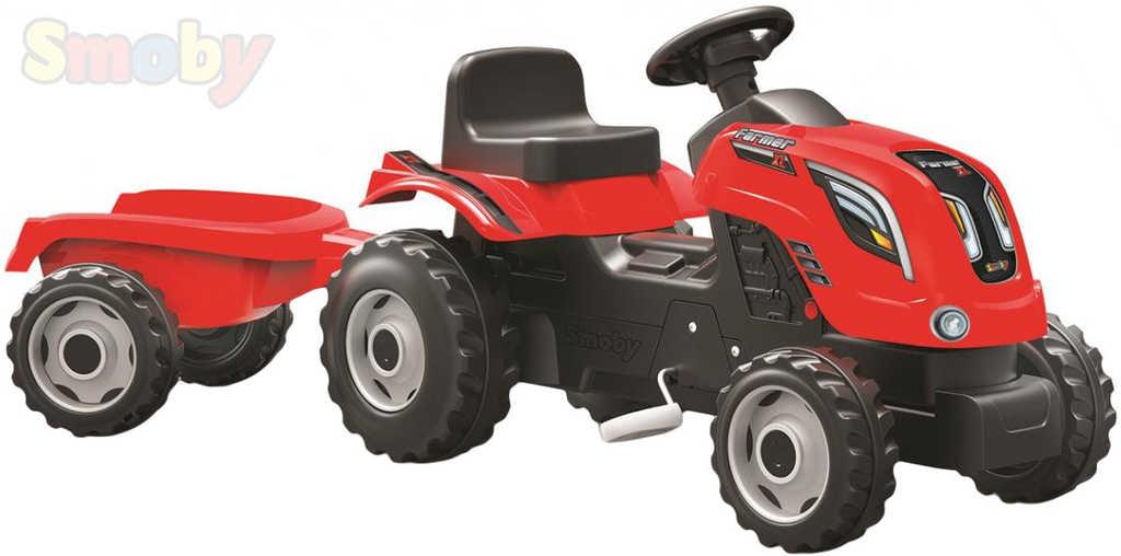 SMOBY Traktor dětský šlapací Farmer XL červený s vlečkou a klaksonem plast